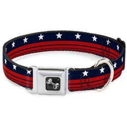 Dog Bone Black/Silver Seatbelt Buckle Collar - Americana Stars & Stripes4 Blue/White/Red