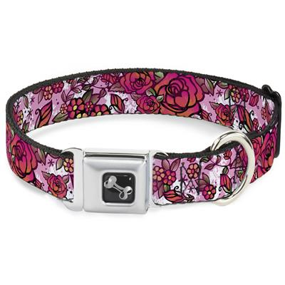 Dog Bone Black/Silver Seatbelt Buckle Collar - Born to Blossom CLOSE-UP White