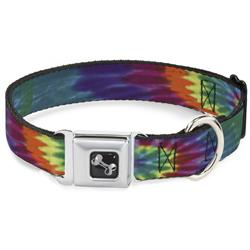 Dog Bone Black/Silver Seatbelt Buckle Collar - Buckle-Down Tie Dye