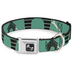 Dog Bone Black/Silver Seatbelt Buckle Collar - Dog House & Bone Turquoise/Brown