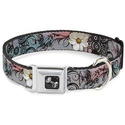 Dog Bone Black/Silver Seatbelt Buckle Collar - Flowers w/Filigree Pink