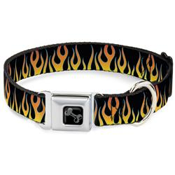 Dog Bone Black/Silver Seatbelt Buckle Collar - Flames Black/Yellow/Orange
