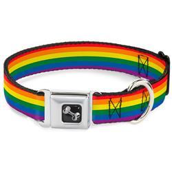 Dog Bone Black/Silver Seatbelt Buckle Collar - Flag Pride Rainbow