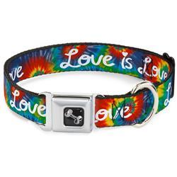 Dog Bone Black/Silver Seatbelt Buckle Collar - LOVE IS LOVE BD Tie Dye/White