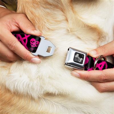 Dog Bone Black/Silver Seatbelt Buckle Collar - Punk Princess Black/Fuchsia