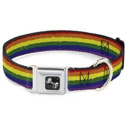 Dog Bone Black/Silver Seatbelt Buckle Collar - Rainbow Stripe Painted