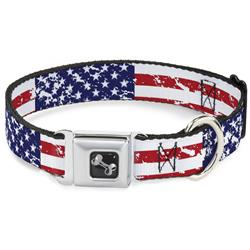 Dog Bone Black/Silver Seatbelt Buckle Collar - United States Flags CLOSE-UP Weathered
