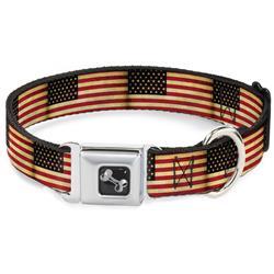 Dog Bone Black/Silver Seatbelt Buckle Collar - Vintage US Flag Repeat
