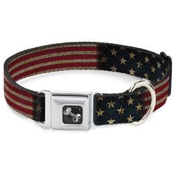 Dog Bone Black/Silver Seatbelt Buckle Collar - Vintage US Flag Stretch