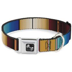 Dog Bone Black/Silver Seatbelt Buckle Collar - Zarape6 Vertical Stripe Gold/Blues/Black/Red