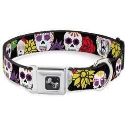 Dog Bone Black/Silver Seatbelt Buckle Collar - Sugar Skulls & Flowers Black/Multi Color