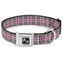 Dog Bone Black/Silver Seatbelt Buckle Collar - Plaid Pink