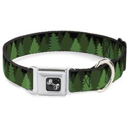Dog Bone Black/Silver Seatbelt Buckle Collar - Pine Tree Silhouettes Black/Greens