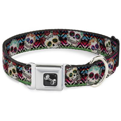 Dog Bone Black/Silver Seatbelt Buckle Collar - Sugar Skulls Zarape Multi Color