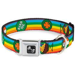 Dog Bone Black/Silver Seatbelt Buckle Collar - St. Pat's Rainbow/Coins