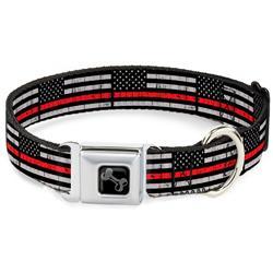 Dog Bone Black/Silver Seatbelt Buckle Collar - Thin Red Line Flag Weathered Black/Gray/Red