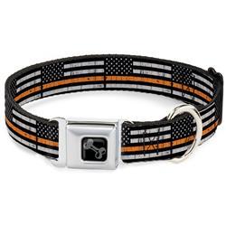 Dog Bone Black/Silver Seatbelt Buckle Collar - Thin Orange Line Flag Weathered Black/Gray/Orange