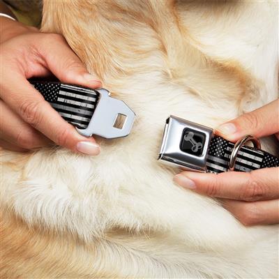 Dog Bone Black/Silver Seatbelt Buckle Collar - Thin Gray Line Flag Weathered Black/Grays