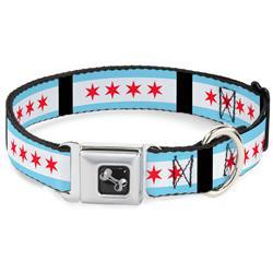 Dog Bone Black/Silver Seatbelt Buckle Collar - Chicago Flags/Black