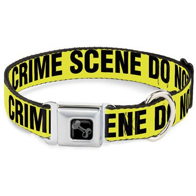 Dog Bone Black/Silver Seatbelt Buckle Collar - CRIME SCENE DO NOT CROSS Yellow/Black