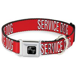 Dog Bone Black/Silver Seatbelt Buckle Collar - SERVICE DOG Red/Black/White