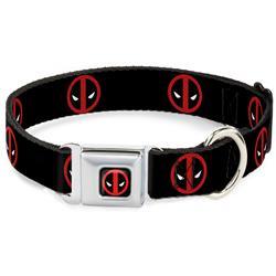 Deadpool Logo Black/Red/White Seatbelt Buckle Collar - Deadpool Logo Black/Red/White