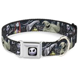 Jack Expression6 Full Color Seatbelt Buckle Collar - Nightmare Before Christmas 4-Character Group/Cemetery Scene
