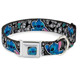 Stitch Face CLOSE-UP Seatbelt Buckle Collar - Stitch Poses/Mini Scrump Scattered