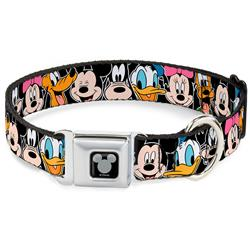 Mickey Silhouette Black/Silver Seatbelt Buckle Collar - Classic Disney Character Faces Black