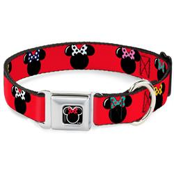 Minnie Mouse Outline Full Color Black/White/Red Polka Dot Seatbelt Buckle Collar - Minnie Mouse Silhouette Red/Black/Polka Dot