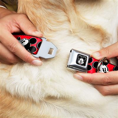 Mickey Mouse Winking Full Color Black Seatbelt Buckle Collar - Mickey Mouse Expressions Red/Black/White