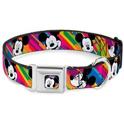 Mickey Mouse Winking CLOSE-UP Full Color Multi Color/Black/White Seatbelt Buckle Collar - Mickey Mouse Expressions Multi Color White/Black