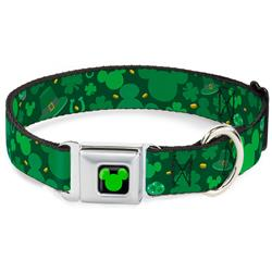 Mickey Silhouette Full Color Black/Green Seatbelt Buckle Collar - St. Patrick's Day Mickey Collage Greens
