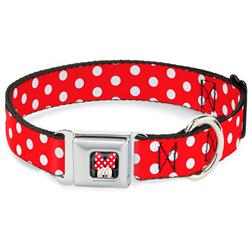 Minnie Mouse w/Bow CLOSE-UP Full Color Black/Red/White Seatbelt Buckle Collar - Minnie Mouse Polka Dots Red/White