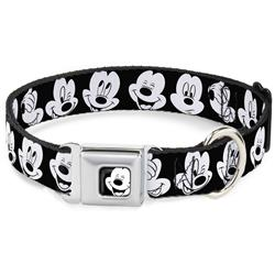 Mickey Mouse Face3 CLOSE-UP Full Color Black/White Seatbelt Buckle Collar - Mickey Mouse Expressions CLOSE-UP Black/White