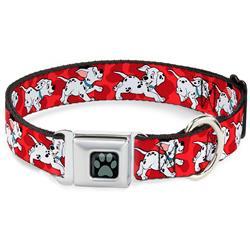 Dalmatian Paw Full Color Black/Gray Seatbelt Buckle Collar - Dalmatians Running/Paws Reds/White/Black