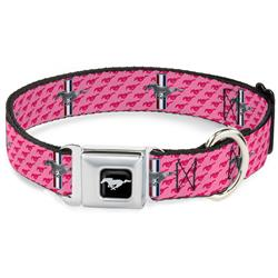Ford Mustang Black/Silver Seatbelt Buckle Collar - Ford Mustang w/Bars w/Text PINK LOGO REPEAT