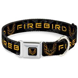 Pontiac Firebird Logo Full Color Black/Golds Seatbelt Buckle Collar - Pontiac FIREBIRD/Logo Black/Grays/Golds