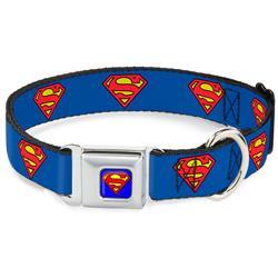 Superman Blue Seatbelt Buckle Collar - Superman Shield Blue