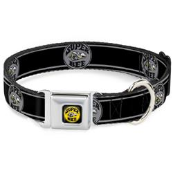 SUPER BEE Logo Full Color Black/Yellow/White Seatbelt Buckle Collar - SUPER BEE Logo/Stripes Black/Gray/Yellow/White