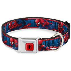 Spider Logo5 Red/Black Seatbelt Buckle Collar - SPIDER-MAN 3-Action Poses/Bricks/Stripe Blues/Red/White