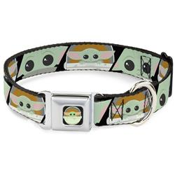 Star Wars The Child Chibi Pod Pose Full Color Black Seatbelt Buckle Collar - Star Wars The Child Chibi Face Blocks Black