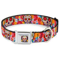 Sugar Skull Starburst Full Color Black/Multi Color Seatbelt Buckle Collar - Sugar Skull Starburst White/Multi Color