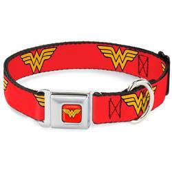 Wonder Woman Red Seatbelt Buckle Collar - Wonder Woman Logo Red