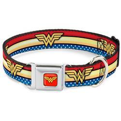Wonder Woman Red Seatbelt Buckle Collar - Wonder Woman Logo Stripe/Stars Red/Gold/Blue/White