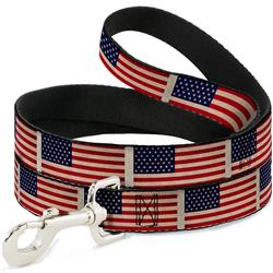 Dog Leash - American Flag Weathered Color Repeat