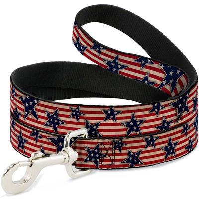 Dog Leash - Americana Stars & Stripes Red/White/Blue/White