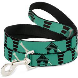 Dog Leash - Dog House & Bone Turquoise/Brown