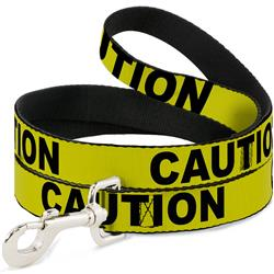 Dog Leash - CAUTION Yellow/Black
