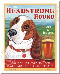 The Headstrong Hound Beer & Biscuit (Red & White Basset Hound)